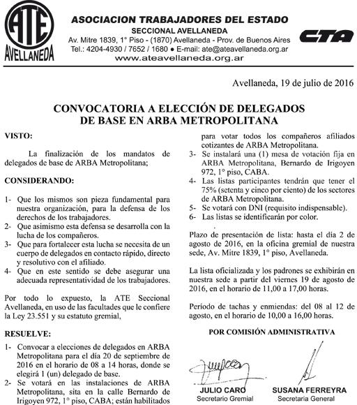 19-07-16 CONVOCATORIA ELECCION DELEGADOS ARBA METROPOLITANA