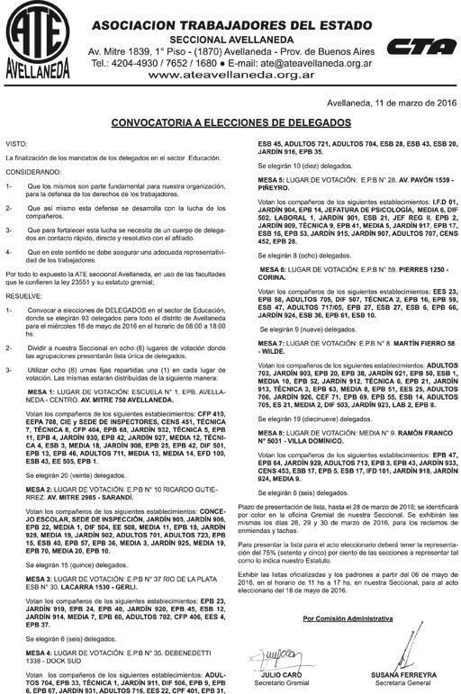 11-03-16 CONVOCATORIA ELECCIONES DELEGADOS EDUCACION