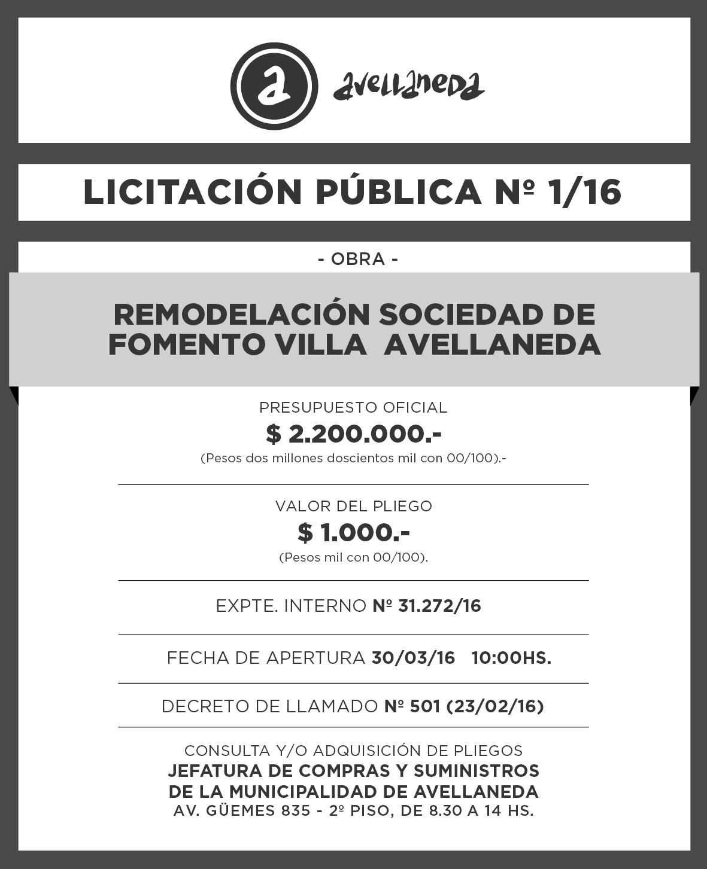 LICITACION PUBLICA Nº 001-16