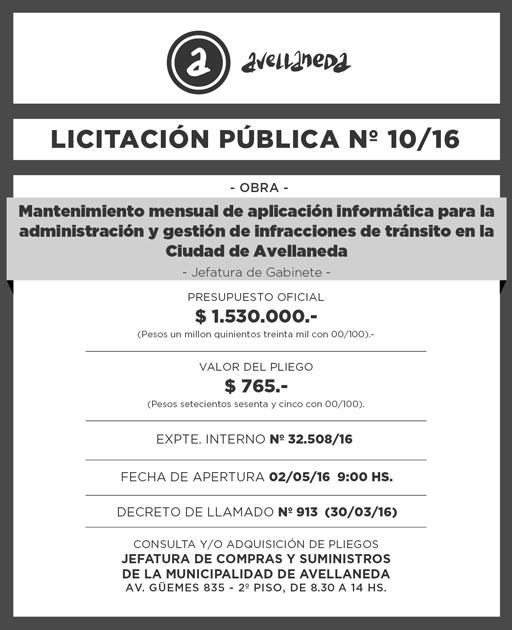 LICITACION PUBLICA Nº 010-16-01