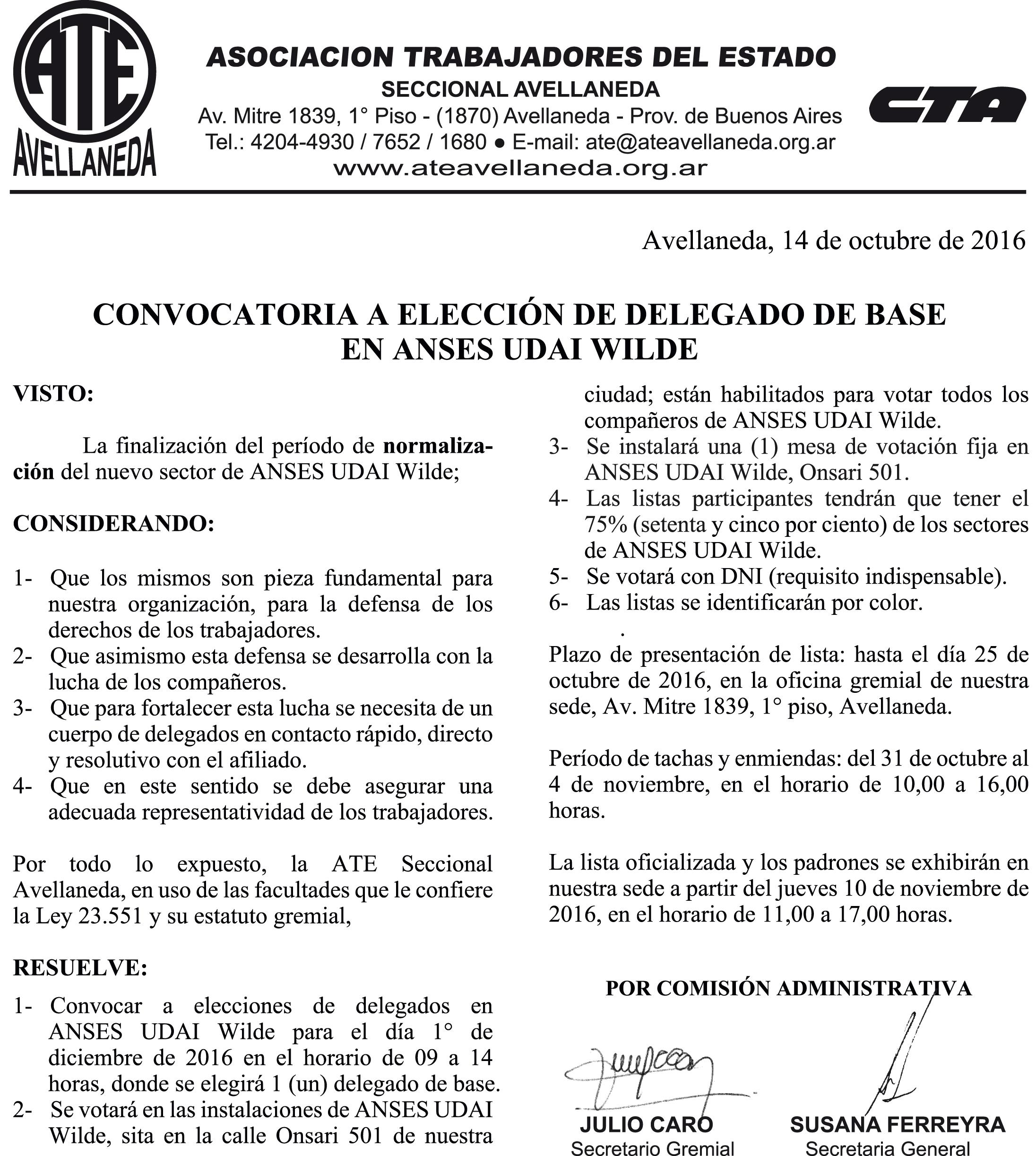 14-10-16 CONVOCATORIA ELECCIONES ANSES UDAI WILDE