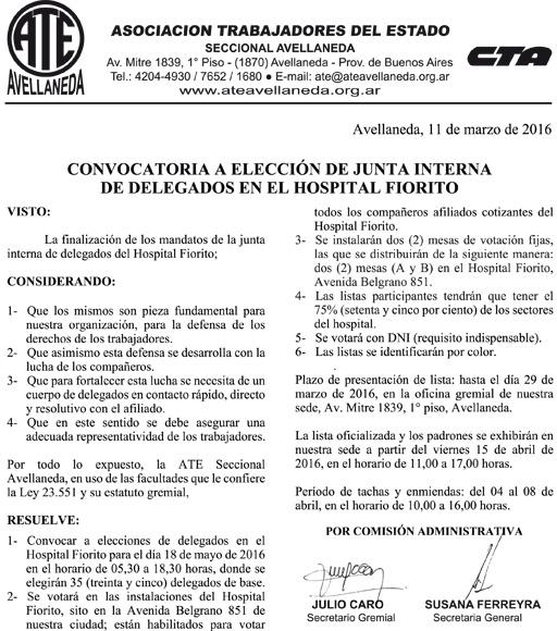 11-03-16 CONVOCATORIA ELECCIONES DELEGADOS SALUD FIORITO