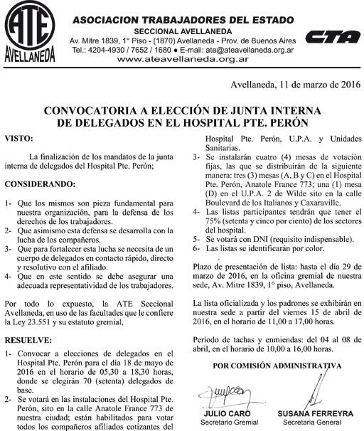 11-03-16 CONVOCATORIA ELECCIONES DELEGADOS SALUD PTE. PERON